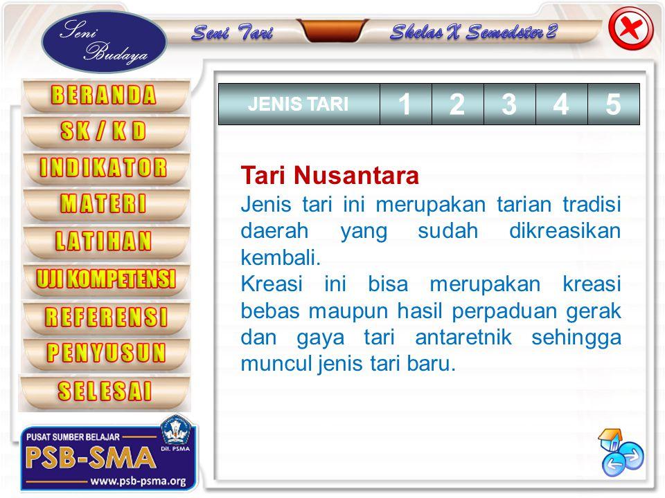 JENIS TARI 1. 2. 3. 4. 5. Tari Nusantara. Jenis tari ini merupakan tarian tradisi daerah yang sudah dikreasikan kembali.