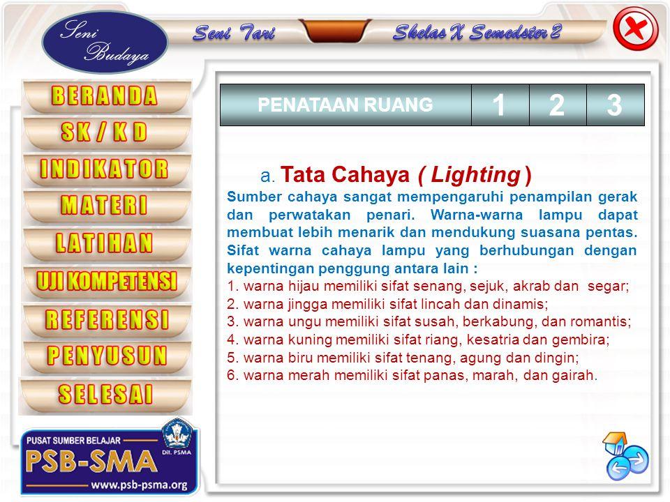 1 2 3 PENATAAN RUANG a. Tata Cahaya ( Lighting )