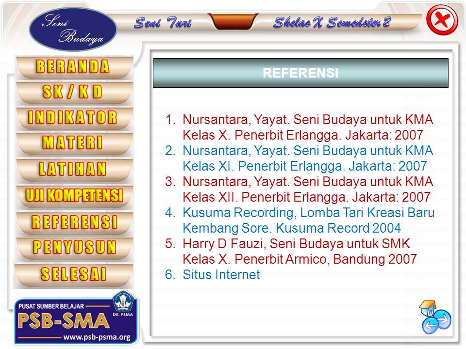 REFERENSI Nursantara, Yayat. Seni Budaya untuk KMA Kelas X. Penerbit Erlangga. Jakarta: 2007.