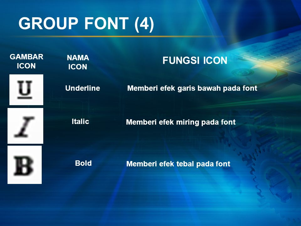 GROUP FONT (4) FUNGSI ICON GAMBAR ICON NAMA ICON Underline