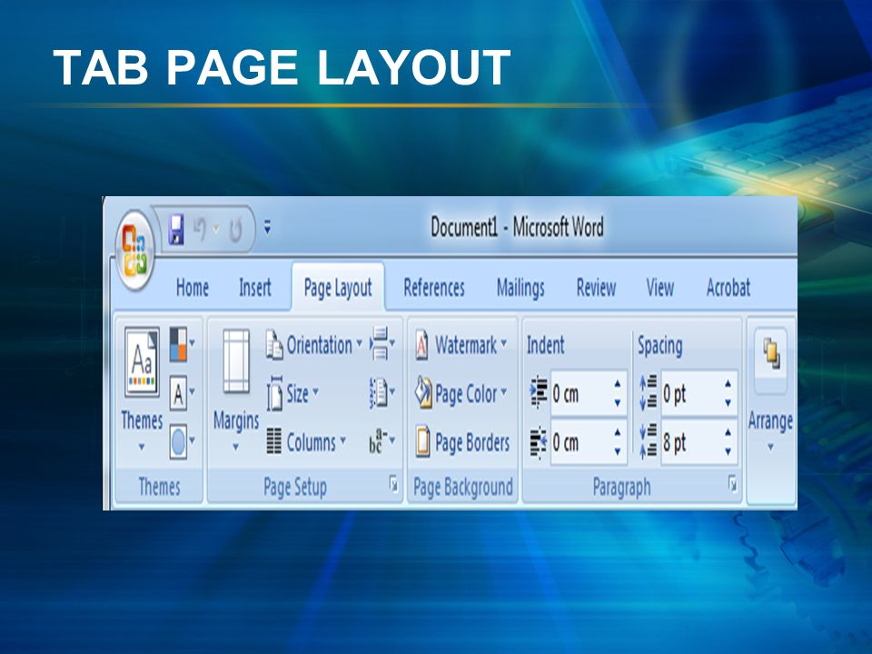 TAB PAGE LAYOUT