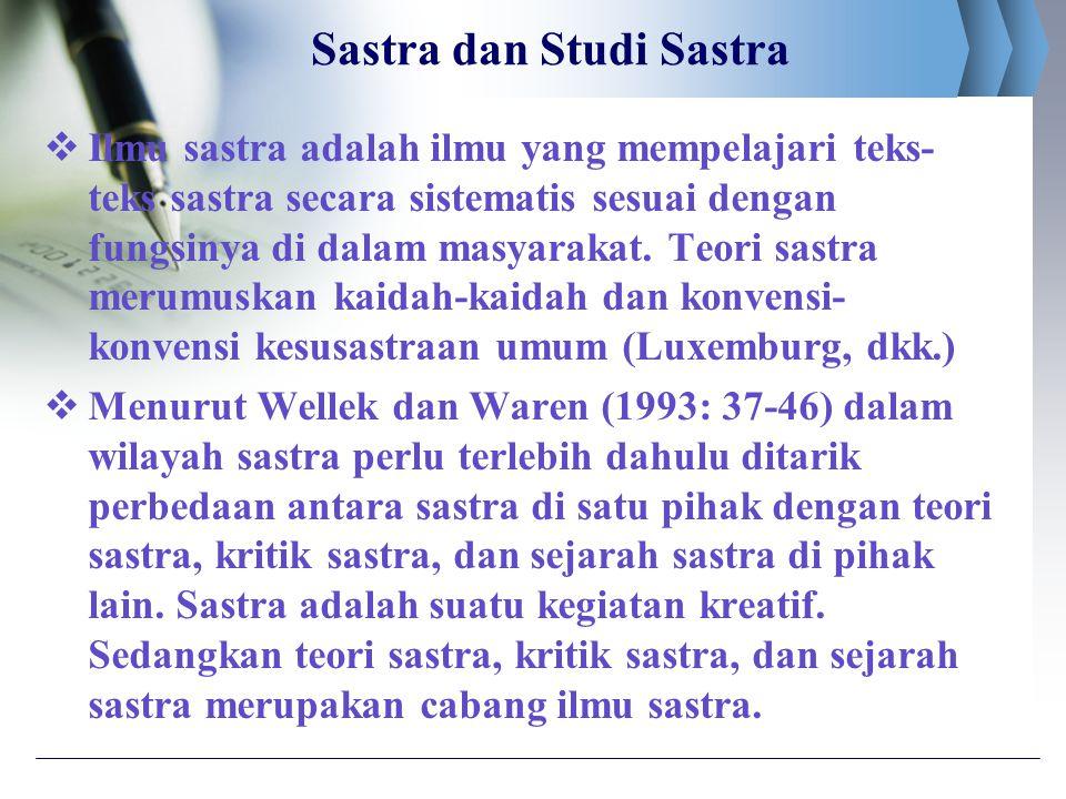 Sastra dan Studi Sastra