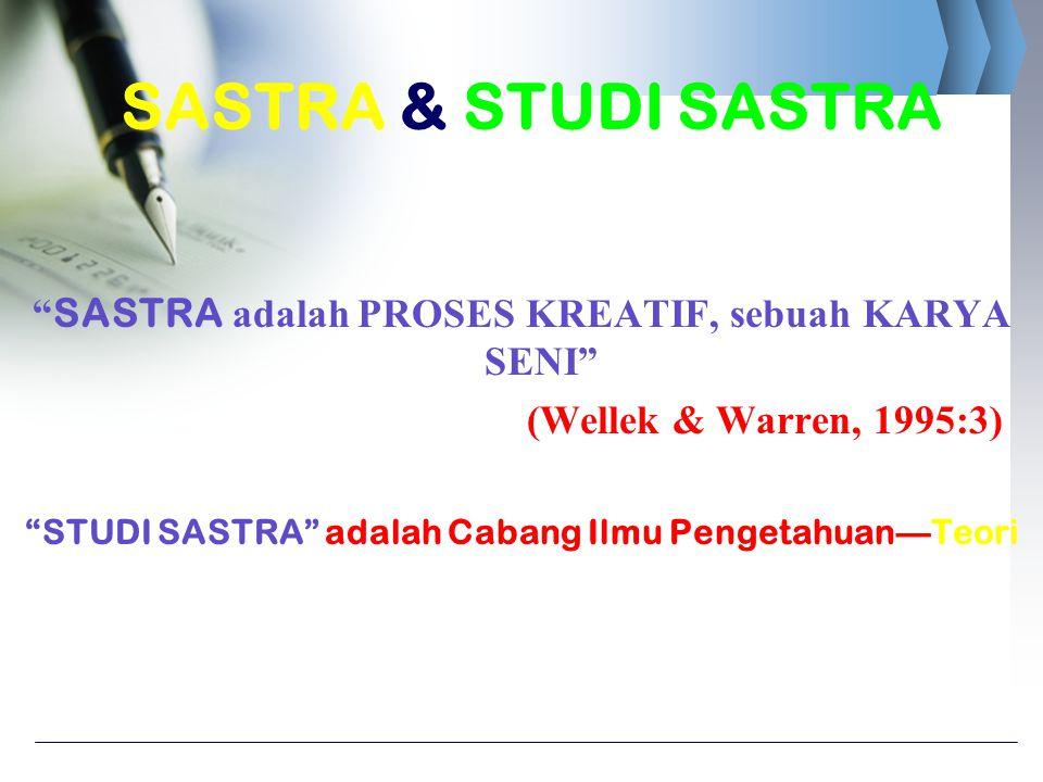 SASTRA & STUDI SASTRA SASTRA adalah PROSES KREATIF, sebuah KARYA SENI (Wellek & Warren, 1995:3)