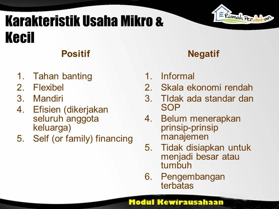 Karakteristik Usaha Mikro & Kecil