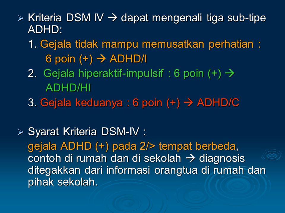Kriteria DSM IV  dapat mengenali tiga sub-tipe ADHD: