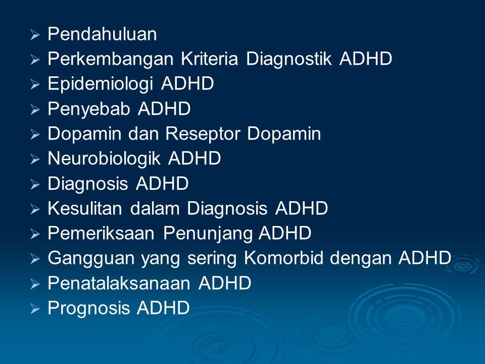 Pendahuluan Perkembangan Kriteria Diagnostik ADHD. Epidemiologi ADHD. Penyebab ADHD. Dopamin dan Reseptor Dopamin.
