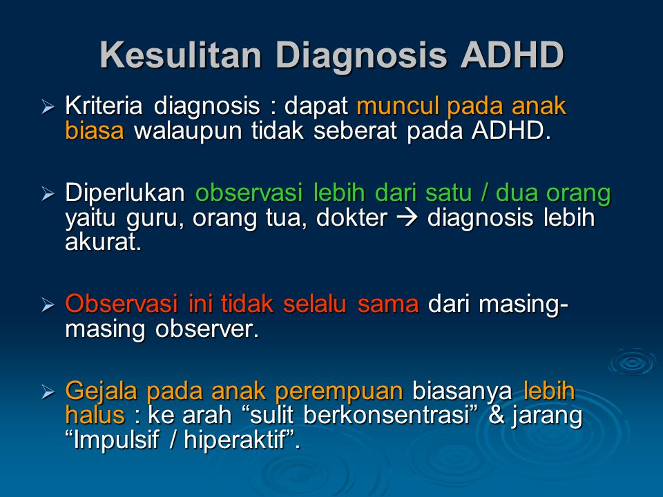 Kesulitan Diagnosis ADHD