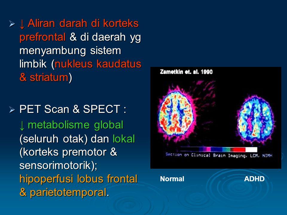 ↓ Aliran darah di korteks prefrontal & di daerah yg menyambung sistem limbik (nukleus kaudatus & striatum)