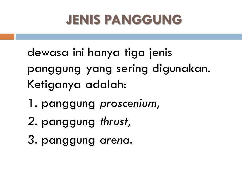 JENIS PANGGUNG 1. panggung proscenium, 2. panggung thrust,