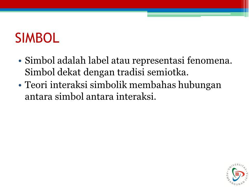 SIMBOL Simbol adalah label atau representasi fenomena. Simbol dekat dengan tradisi semiotka.