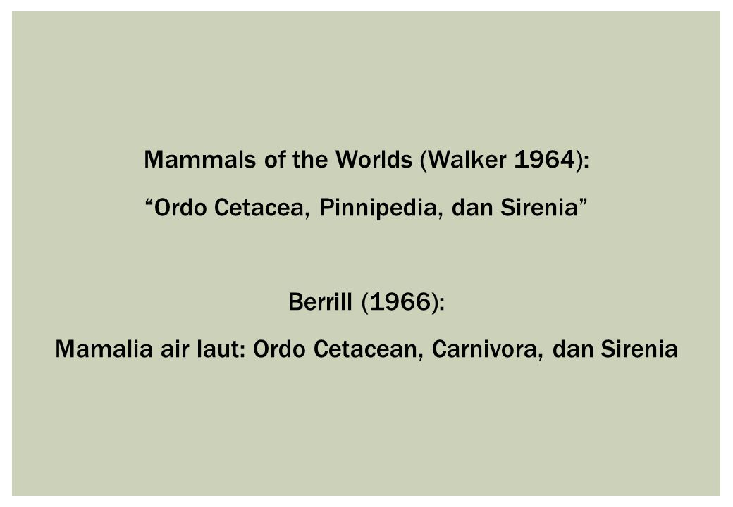 Mammals of the Worlds (Walker 1964):