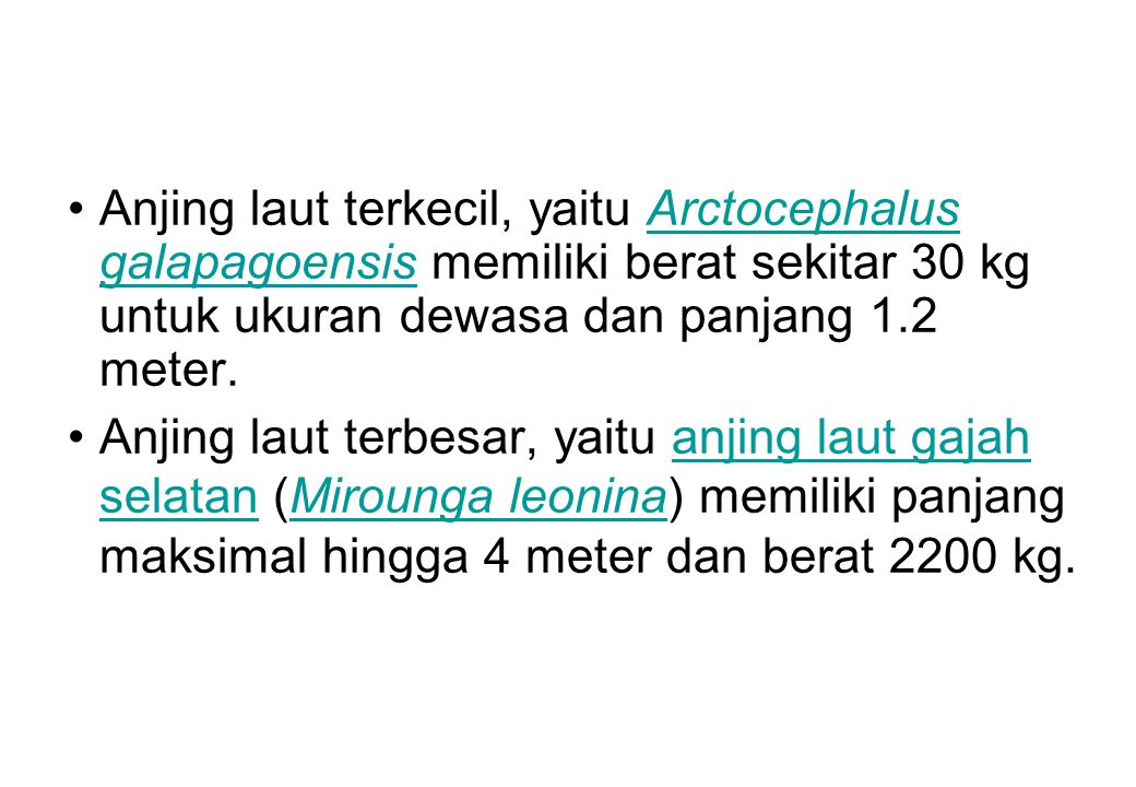 Anjing laut terkecil, yaitu Arctocephalus galapagoensis memiliki berat sekitar 30 kg untuk ukuran dewasa dan panjang 1.2 meter.