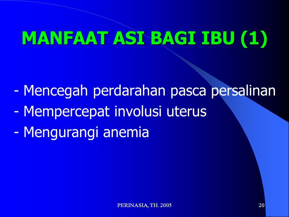 MANFAAT ASI BAGI IBU (1) - Mempercepat involusi uterus