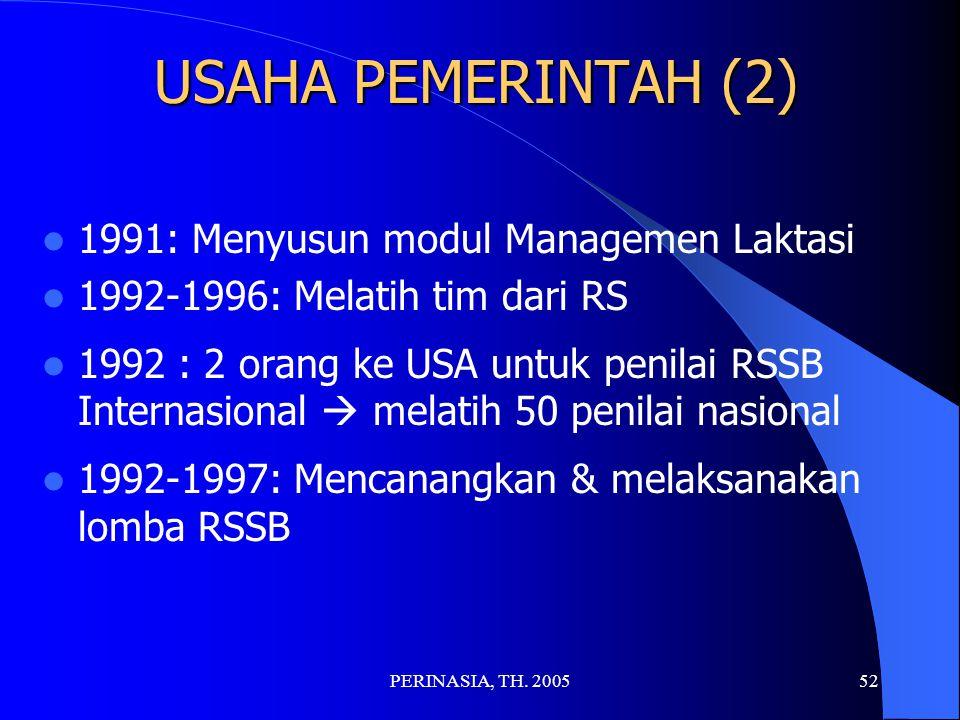 USAHA PEMERINTAH (2) 1991: Menyusun modul Managemen Laktasi