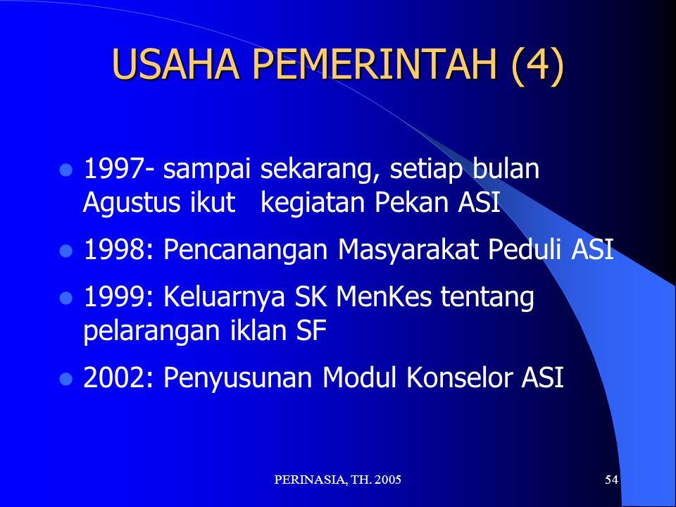 USAHA PEMERINTAH (4) 1997- sampai sekarang, setiap bulan Agustus ikut kegiatan Pekan ASI. 1998: Pencanangan Masyarakat Peduli ASI.