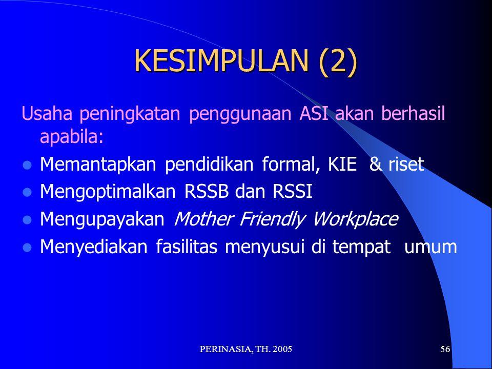 KESIMPULAN (2) Usaha peningkatan penggunaan ASI akan berhasil apabila: