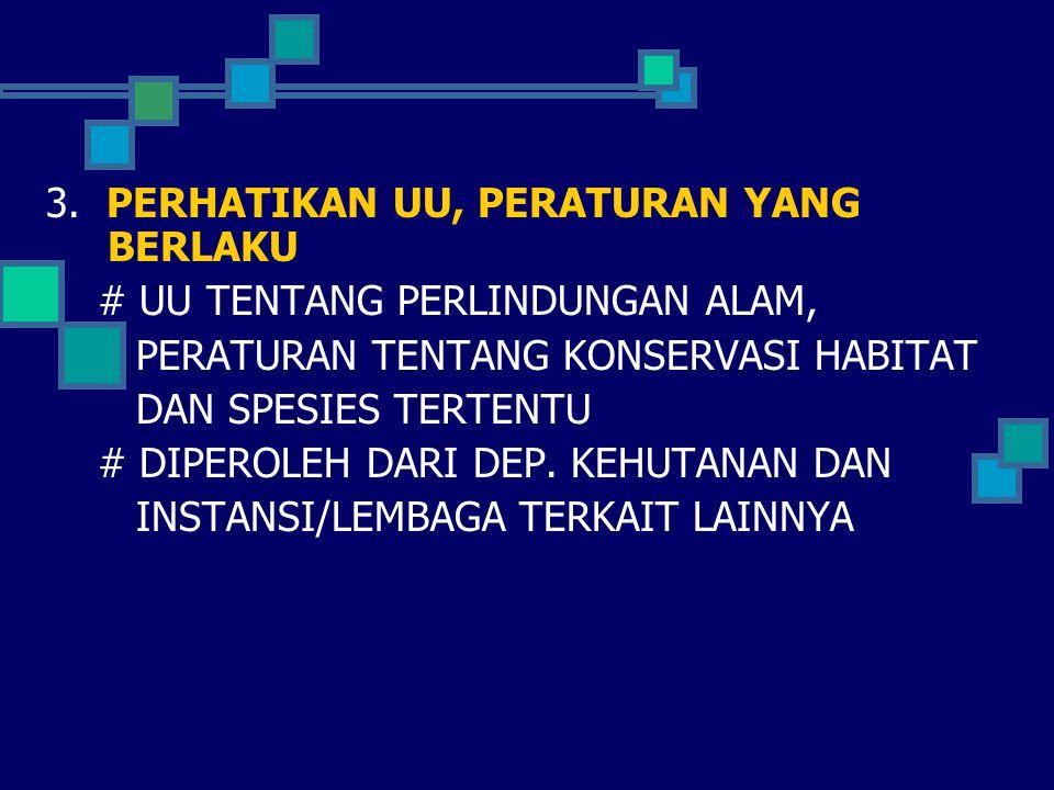 3. PERHATIKAN UU, PERATURAN YANG BERLAKU