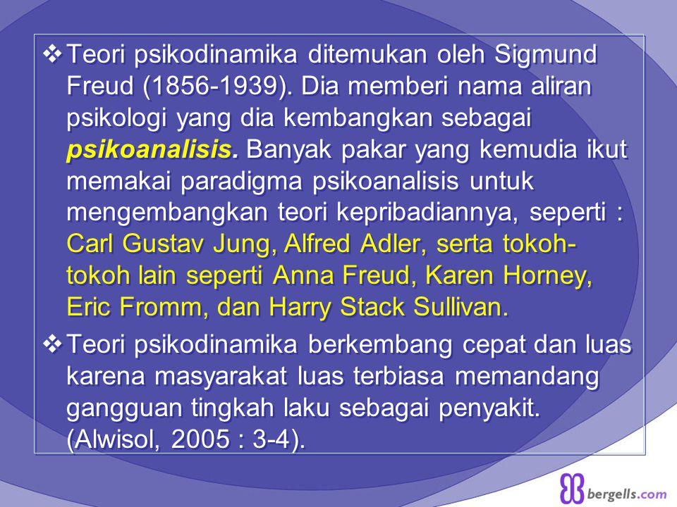 Teori psikodinamika ditemukan oleh Sigmund Freud (1856-1939)