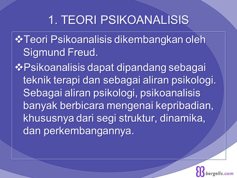 1. TEORI PSIKOANALISIS Teori Psikoanalisis dikembangkan oleh Sigmund Freud.