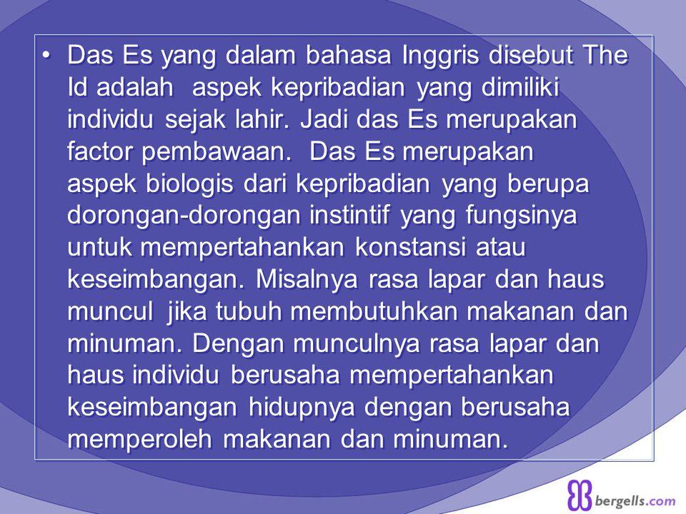 Das Es yang dalam bahasa Inggris disebut The Id adalah aspek kepribadian yang dimiliki individu sejak lahir.
