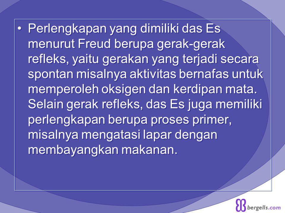 Perlengkapan yang dimiliki das Es menurut Freud berupa gerak-gerak refleks, yaitu gerakan yang terjadi secara spontan misalnya aktivitas bernafas untuk memperoleh oksigen dan kerdipan mata.