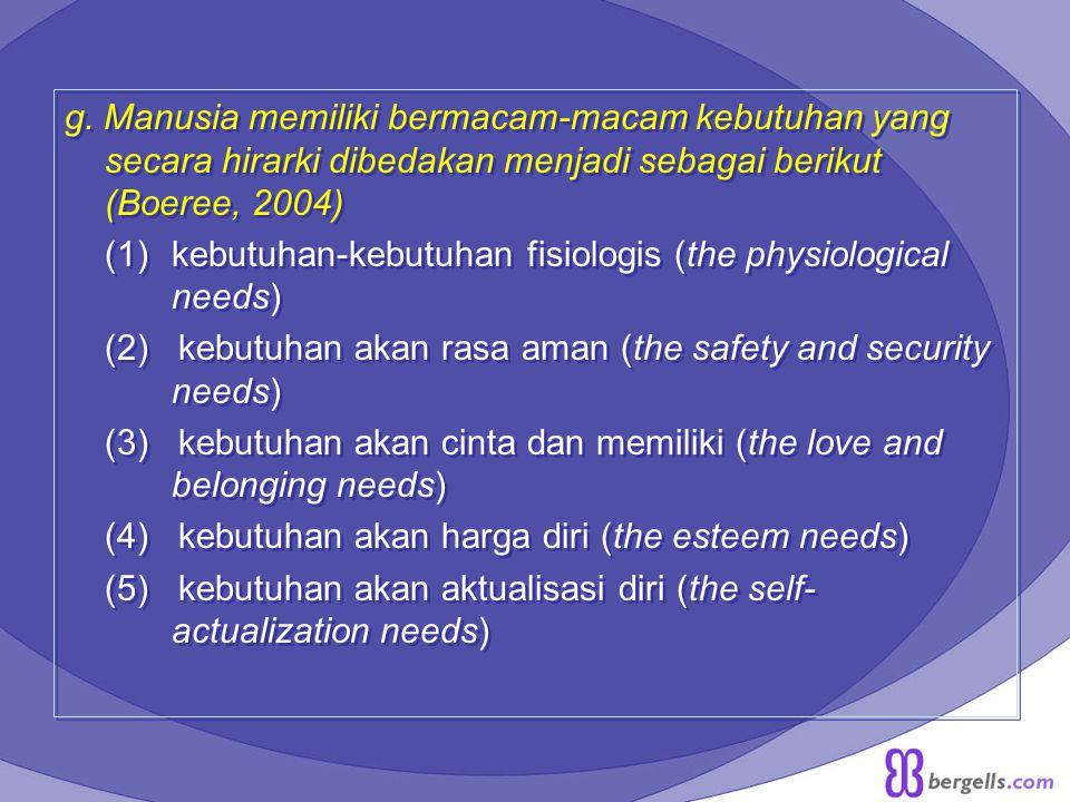 g. Manusia memiliki bermacam-macam kebutuhan yang secara hirarki dibedakan menjadi sebagai berikut (Boeree, 2004)