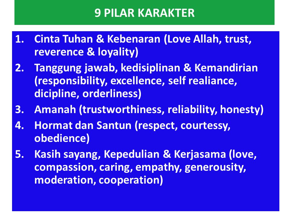 9 PILAR KARAKTER Cinta Tuhan & Kebenaran (Love Allah, trust, reverence & loyality)