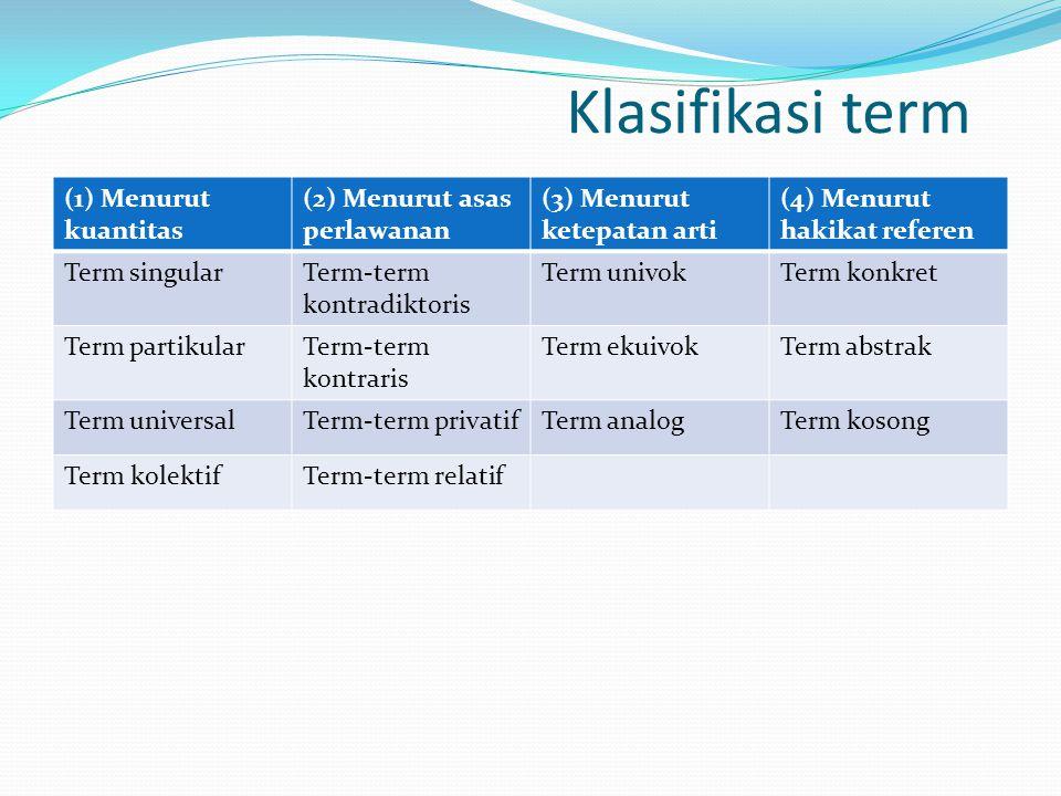 Klasifikasi term (1) Menurut kuantitas (2) Menurut asas perlawanan