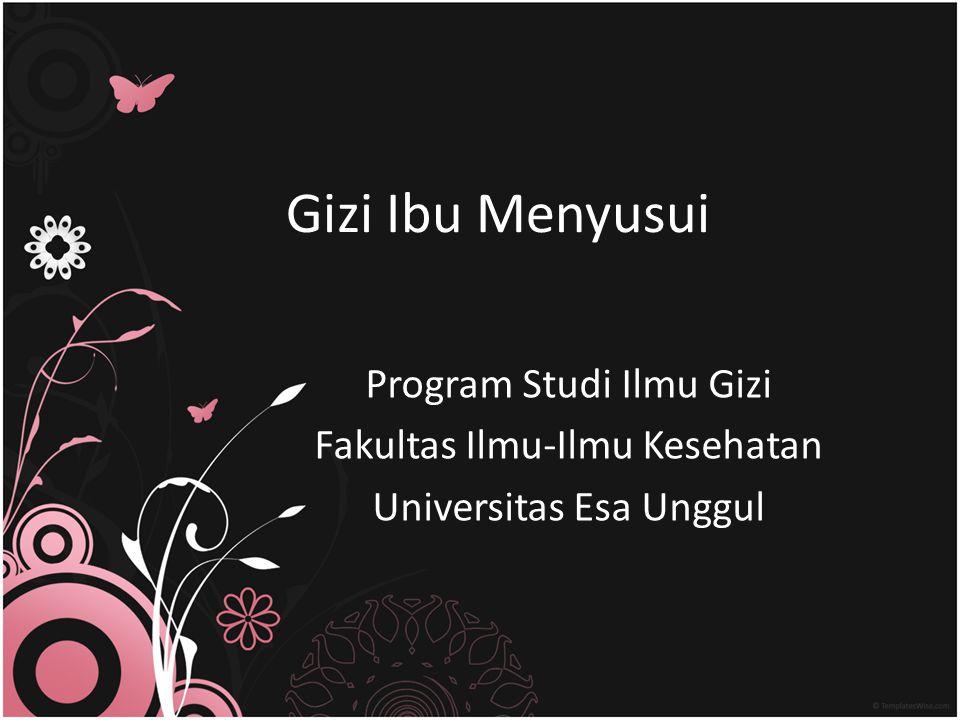 Gizi Ibu Menyusui Program Studi Ilmu Gizi Fakultas Ilmu-Ilmu Kesehatan