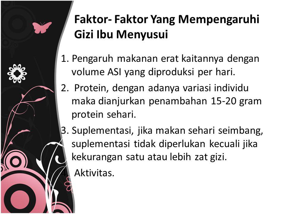 Faktor- Faktor Yang Mempengaruhi Gizi Ibu Menyusui