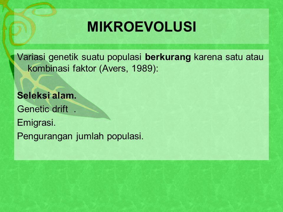 MIKROEVOLUSI Variasi genetik suatu populasi berkurang karena satu atau kombinasi faktor (Avers, 1989):