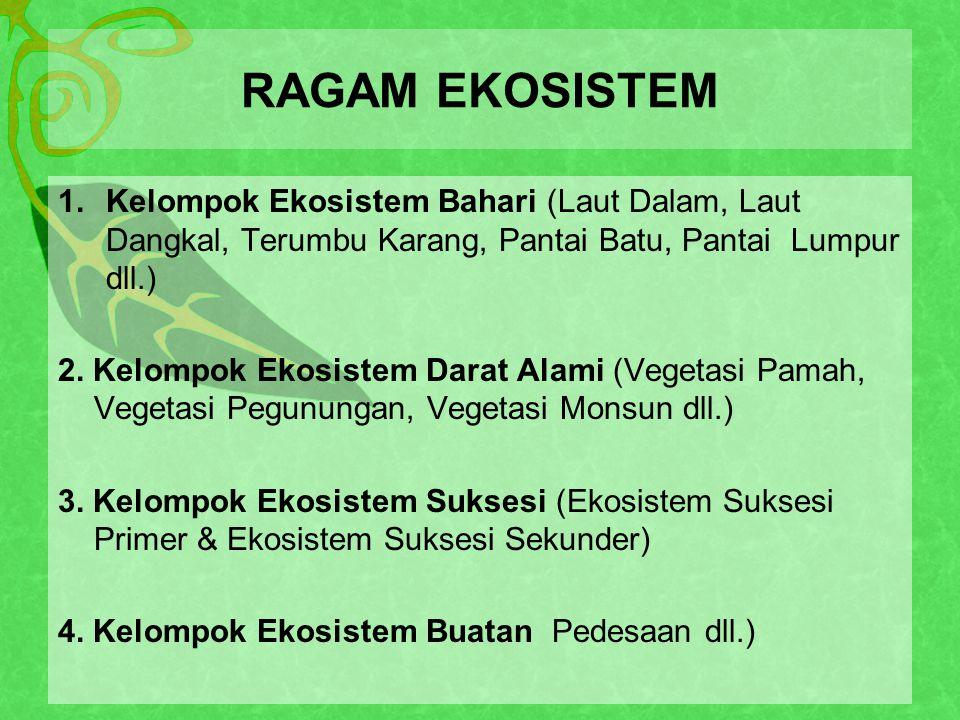 RAGAM EKOSISTEM Kelompok Ekosistem Bahari (Laut Dalam, Laut Dangkal, Terumbu Karang, Pantai Batu, Pantai Lumpur dll.)