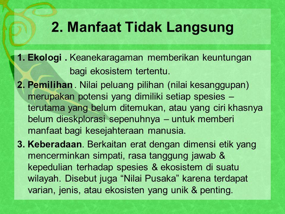 2. Manfaat Tidak Langsung