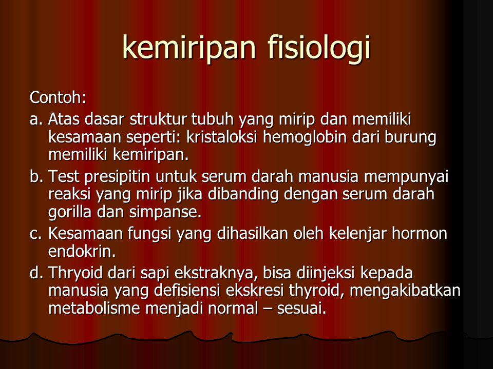 kemiripan fisiologi Contoh: