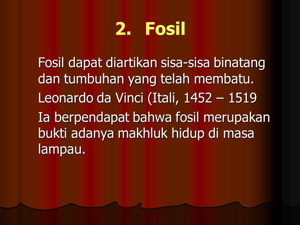2. Fosil Fosil dapat diartikan sisa-sisa binatang dan tumbuhan yang telah membatu. Leonardo da Vinci (Itali, 1452 – 1519.