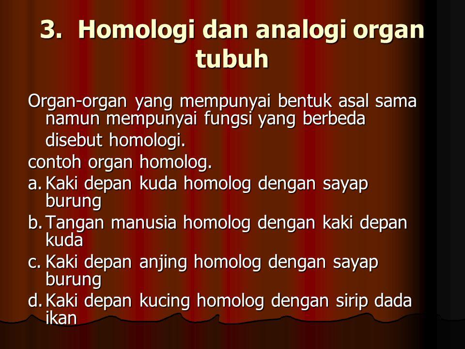 3. Homologi dan analogi organ tubuh