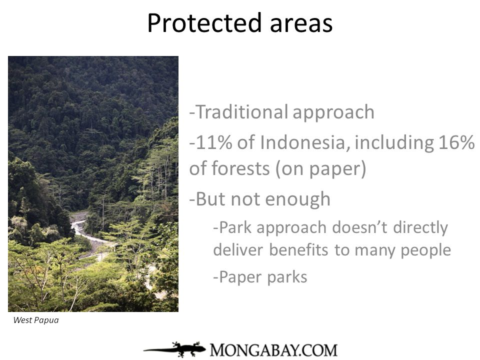 Protected areas Traditional approach