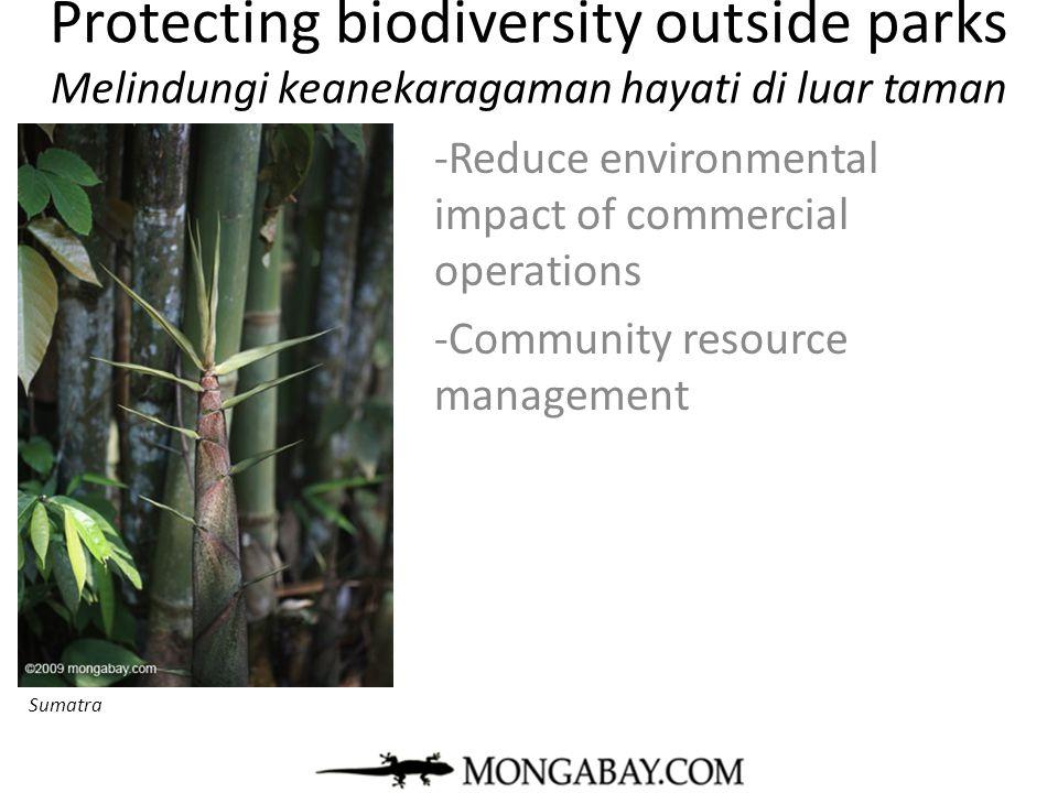 Protecting biodiversity outside parks Melindungi keanekaragaman hayati di luar taman