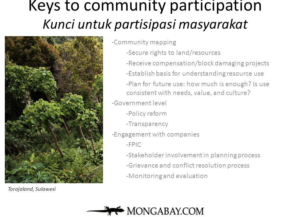 Keys to community participation Kunci untuk partisipasi masyarakat