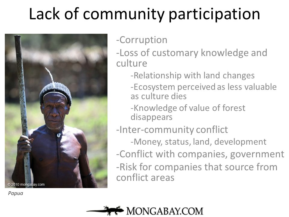 Lack of community participation