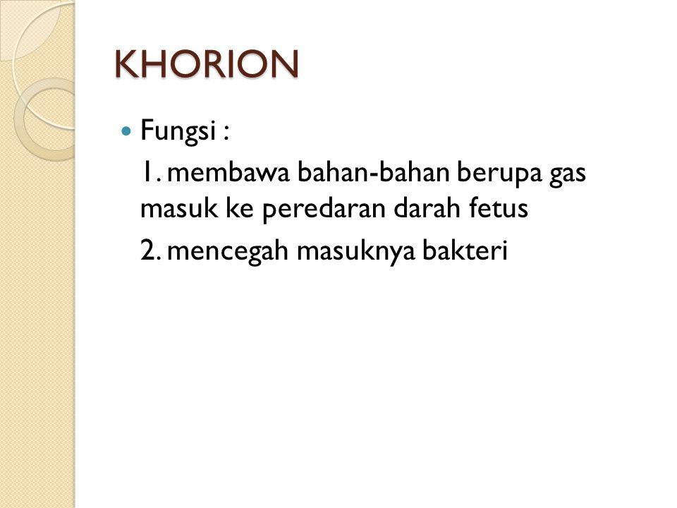 KHORION Fungsi : 1. membawa bahan-bahan berupa gas masuk ke peredaran darah fetus.