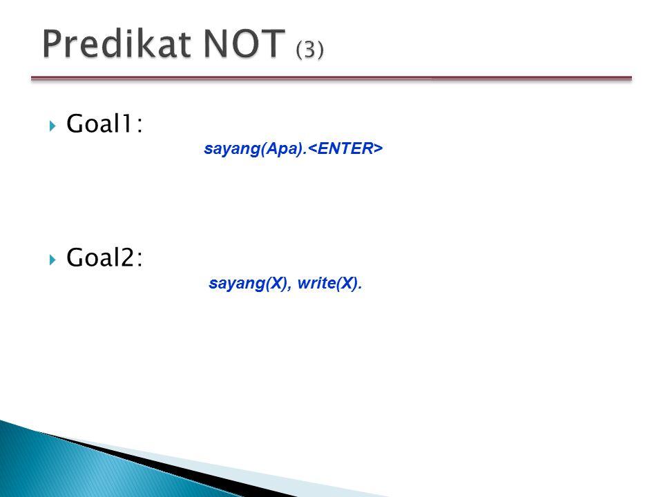 Predikat NOT (3) Goal1: Goal2: sayang(Apa).<ENTER>