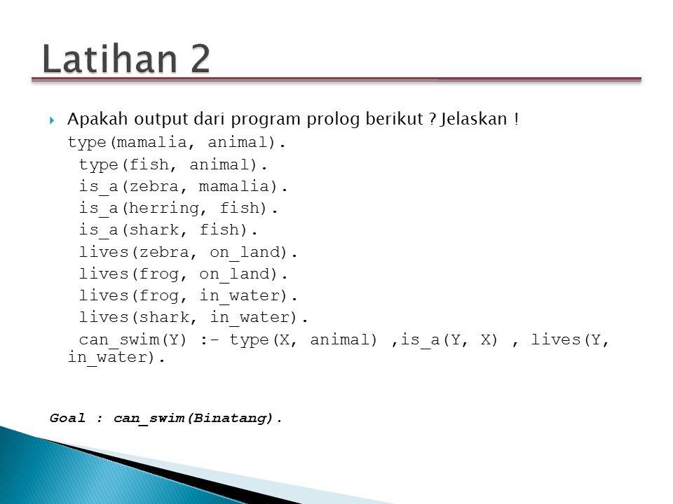 Latihan 2 Apakah output dari program prolog berikut Jelaskan !