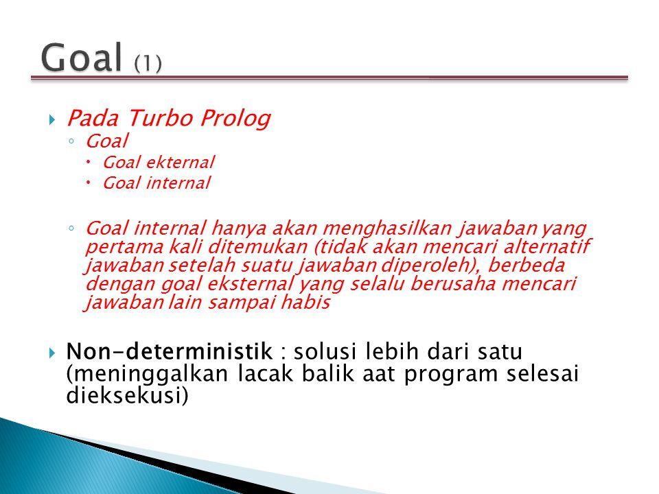 Goal (1) Pada Turbo Prolog