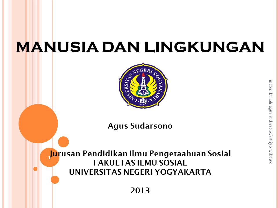 MANUSIA DAN LINGKUNGAN Agus Sudarsono Jurusan Pendidikan Ilmu Pengetaahuan Sosial FAKULTAS ILMU SOSIAL UNIVERSITAS NEGERI YOGYAKARTA 2013