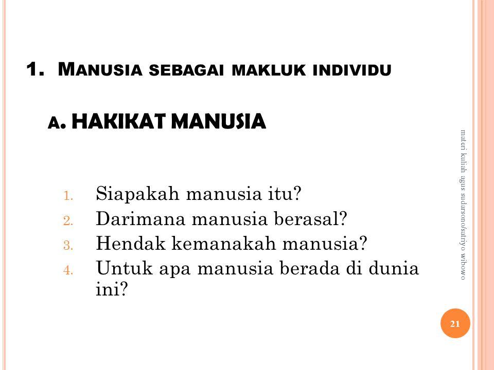 1. Manusia sebagai makluk individu a. HAKIKAT MANUSIA