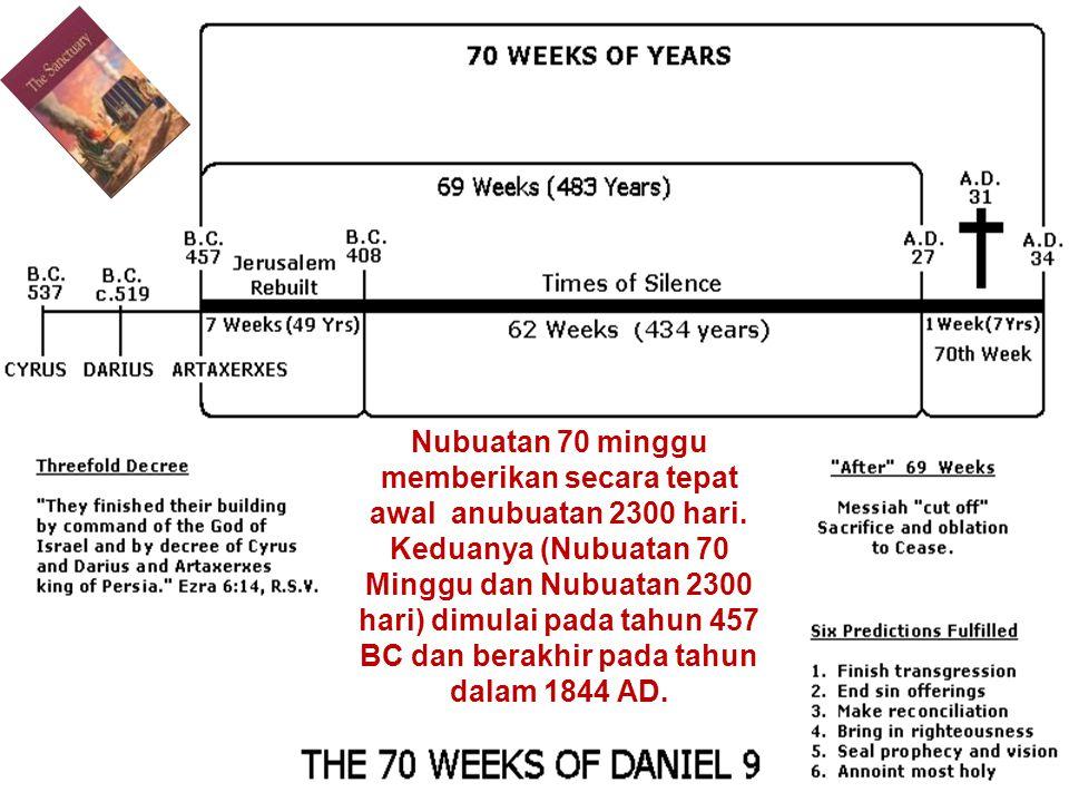 Nubuatan 70 minggu memberikan secara tepat awal anubuatan 2300 hari