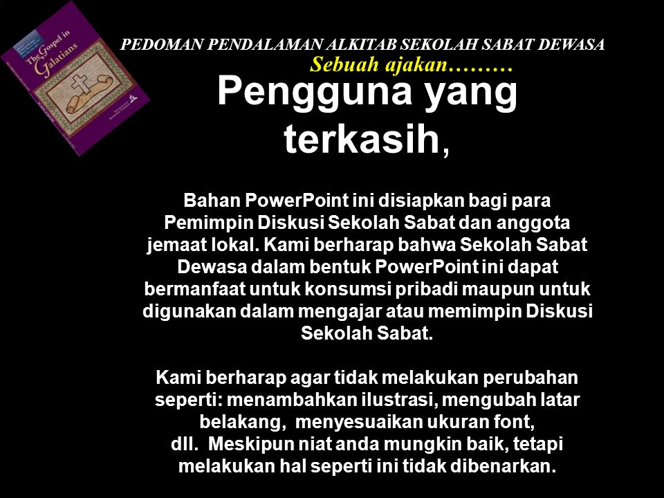 PEDOMAN PENDALAMAN ALKITAB SEKOLAH SABAT DEWASA