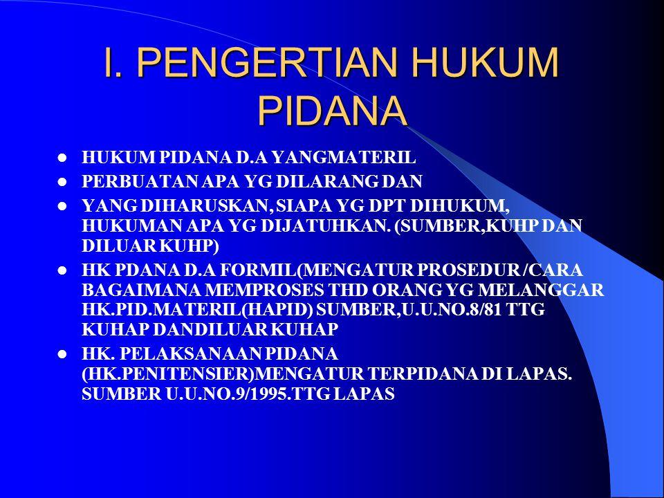 l. PENGERTIAN HUKUM PIDANA
