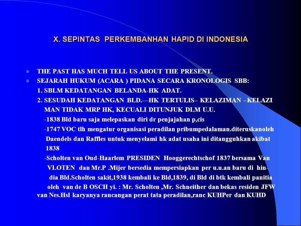 X. SEPINTAS PERKEMBANHAN HAPID DI INDONESIA